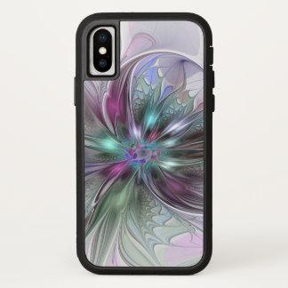 Capa Para iPhone X Flor moderna do Fractal do abstrato colorido da