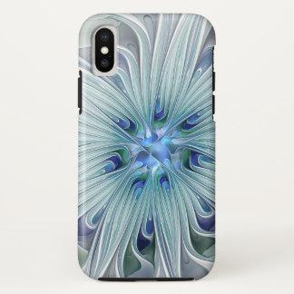 Capa Para iPhone X Flor Pastel azul moderna do abstrato floral da