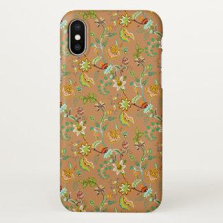 Capa Para iPhone X Floral alaranjado e verde em Brown