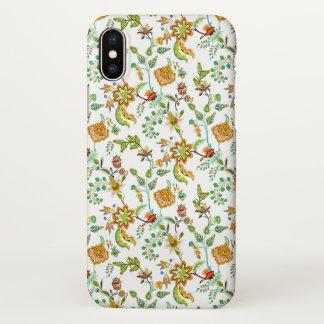 Capa Para iPhone X Floral alaranjado e verde no branco