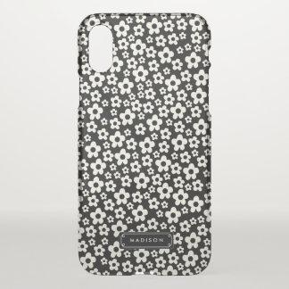 Capa Para iPhone X Floral branco preto da modificação do chique