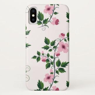 Capa Para iPhone X Floral cor-de-rosa