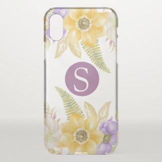 Capa Para iPhone X Floral roxo amarelo do monograma personalizado