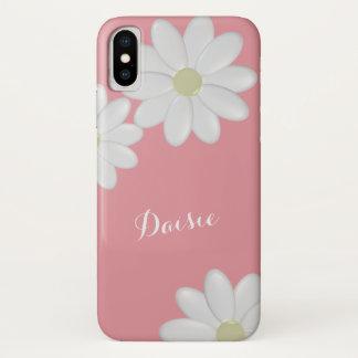 Capa Para iPhone X Flores cor-de-rosa da margarida branca de