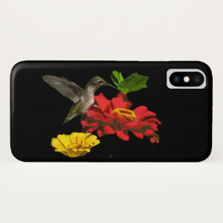 Capa Para iPhone X Flores do Zinnia e caso do iPhone X do pássaro do