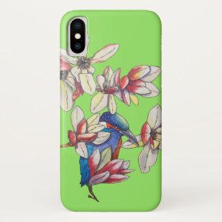 Capa Para iPhone X flores e um pássaro