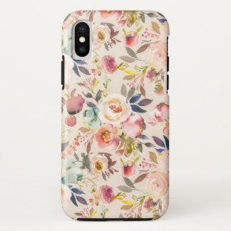 Capa Para iPhone X Flores pintados mão da aguarela do marrom do rosa
