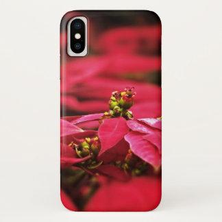Capa Para iPhone X Flores vermelhas das poinsétias