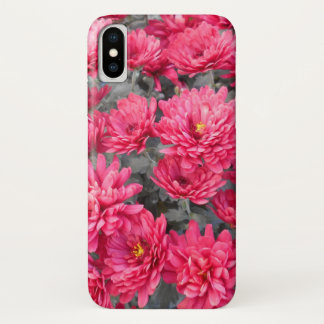Capa Para iPhone X Flores vermelhas do crisântemo