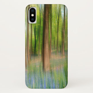 Capa Para iPhone X Floresta BRITÂNICA do carvalho do Bluebell de