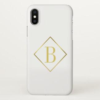 Capa Para iPhone X Folha de prova à moda do quadro do ouro do