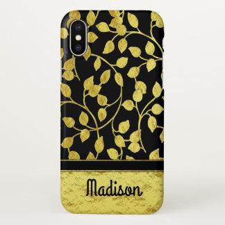 Capa Para iPhone X Folhas botânicas da folha de ouro do falso,
