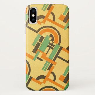 Capa Para iPhone X Formas geométricas da cor retro do teste padrão do