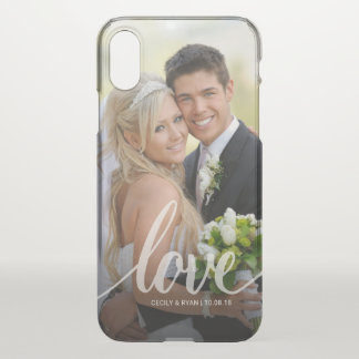 Capa Para iPhone X Foto branca escrita à mão do casamento do amor