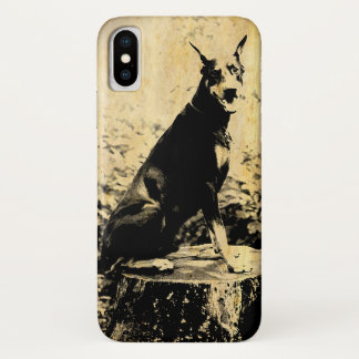 Capa Para iPhone X Foto velha do vintage do Pinscher do Doberman