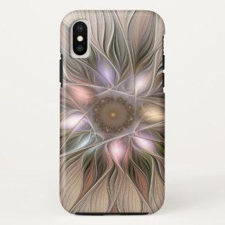 Capa Para iPhone X Fractal floral bege de Brown do abstrato alegre da
