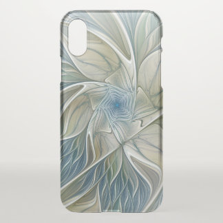 Capa Para iPhone X Fractal Khaki azul do abstrato ideal floral do