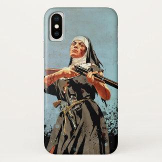 Capa Para iPhone X Freira com um rifle