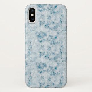 Capa Para iPhone X Fundo azul de mármore da textura