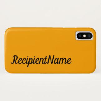 Capa Para iPhone X Fundo básico, mínimo, alaranjado e nome preto