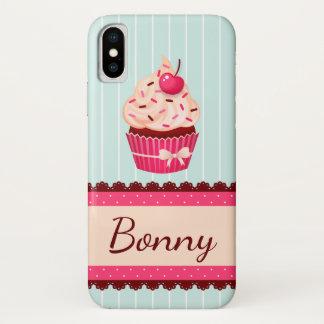 Capa Para iPhone X Fundo cor-de-rosa personalizado do azul da hortelã