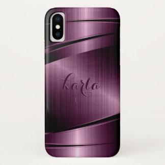 Capa Para iPhone X Fundo geométrico Borgonha-vermelho metálico