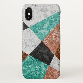Capa Para iPhone X fundo geométrico de mármore G434 do caso do iPhone