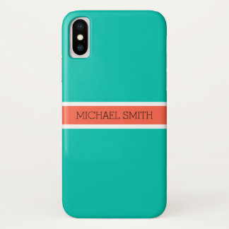 Capa Para iPhone X Fundo liso moderno elegante de Amazonite