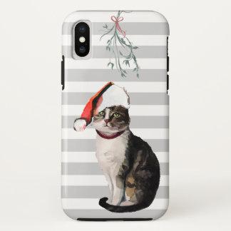 Capa Para iPhone X Gato bonito do Natal + chapéu do papai noel +