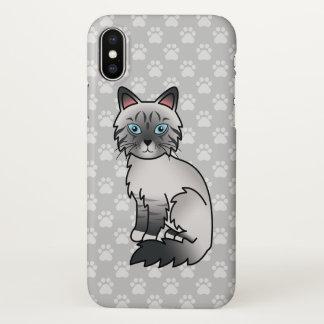 Capa Para iPhone X Gato malhado Birman do ponto azul/desenho gato de