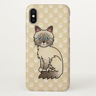 Capa Para iPhone X Gato malhado Birman do ponto do chocolate/desenho