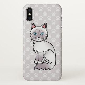 Capa Para iPhone X Gato malhado Birman do ponto do Lilac/desenho gato