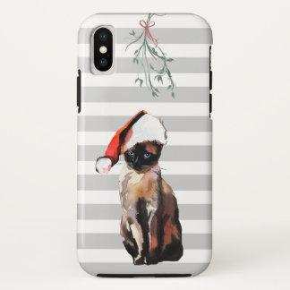 Capa Para iPhone X Gato Siamese do Natal com chapéu do papai noel +