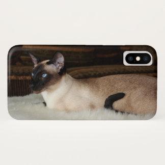 Capa Para iPhone X Gato Siamese elegante