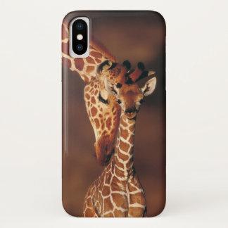 Capa Para iPhone X Girafa adulto com vitela (camelopardalis do
