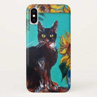 CAPA PARA iPhone X  GIRASSÓIS COM CAT PRETO NA TURQUESA AZUL