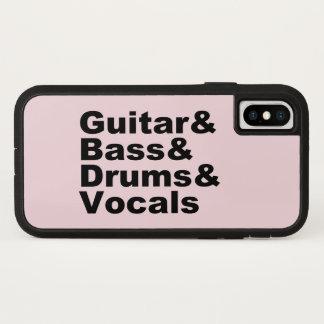 Capa Para iPhone X Guitar&Bass&Drums&Vocals (preto)