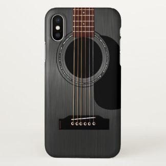 Capa Para iPhone X Guitarra acústica preta da cinza