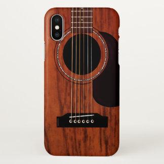 Capa Para iPhone X Guitarra acústica superior de mogno