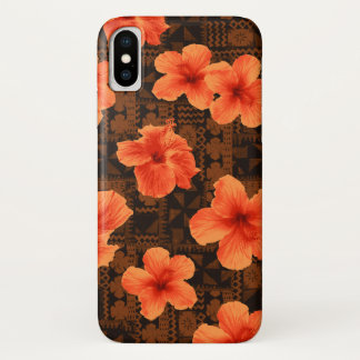 Capa Para iPhone X Hibiscus havaiano tropical do Tapa de Kalalau