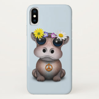 Capa Para iPhone X Hippie bonito do hipopótamo do bebê