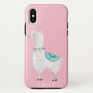 Capa Para iPhone X hipster moderno bonito dos lamas da aguarela
