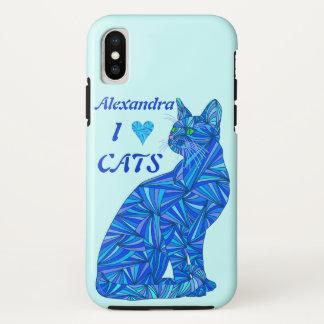Capa Para iPhone X Ifonx de assento azul do gato mim gatos do coração
