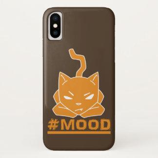 Capa Para iPhone X Ilustração alaranjada do logotipo do gato do #MOOD