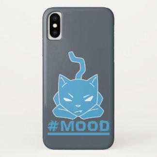 Capa Para iPhone X Ilustração azul do logotipo do gato do #MOOD