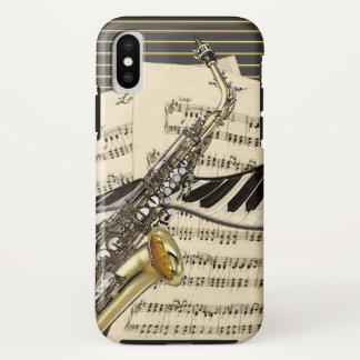 Capa Para iPhone X Ilustração do saxofone & da música do piano