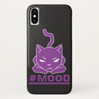 Capa Para iPhone X Ilustração roxa do logotipo do gato do #MOOD