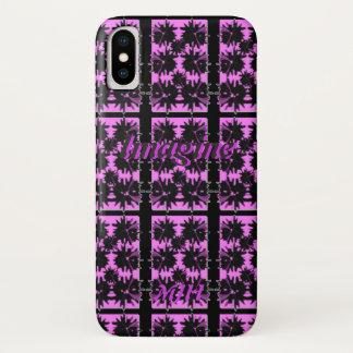 Capa Para iPhone X Imagine o monograma preto e roxo do impressão da