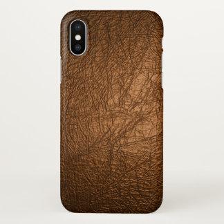 Capa Para iPhone X impressão de couro marrom