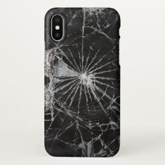 Capa Para iPhone X impressão de vidro quebrado preto